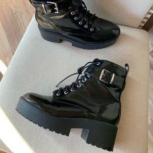 Platform black combat boots